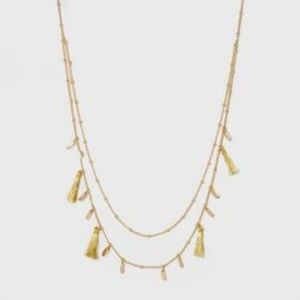 Gold Layered Necklace Embellished With Tassels